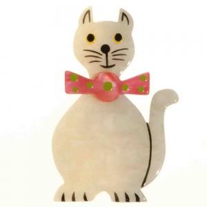 broche chat dandy blanc
