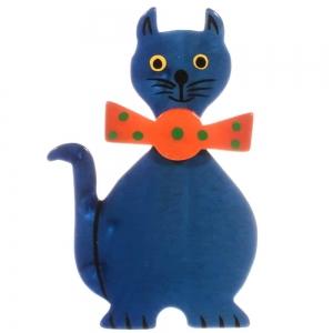 broche chat dandy bleu