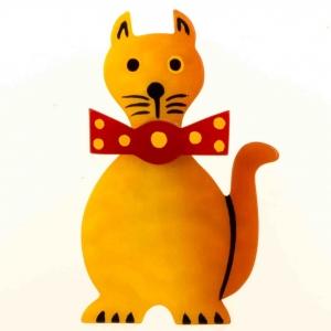 broche chat dandy jaune