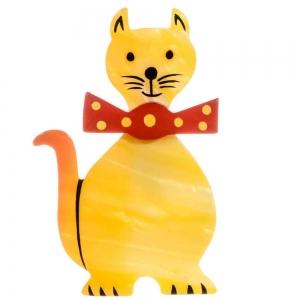 broche chat dandy jaune nacre