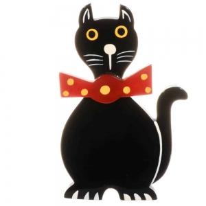 broche chat dandy noir