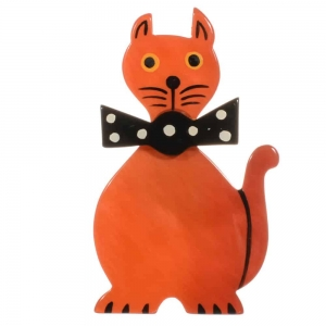 broche chat dandy orange