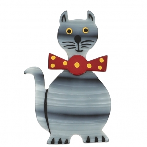 broche chat dandy rayures gris