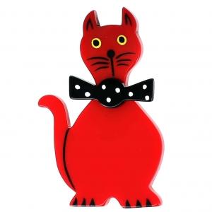 broche chat dandy rouge et noir