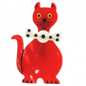 broche chat dandy rouge flamme