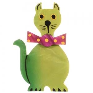broche chat dandy vert anis 1