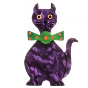 broche chat dandy violet