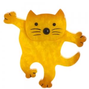 broche chat dansant jaune