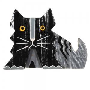 broche chat deco noir et gris
