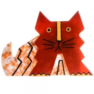 broche chat deco rouge et jaune paillette