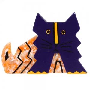 broche chat deco violet et jaune paillette