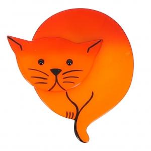 broche chat double lune orange