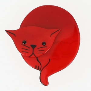 broche chat double lune rouge 0000