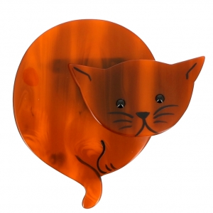 broche chat double lune roux 0000