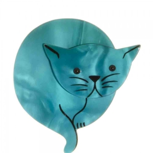 broche chat double lune turquoise