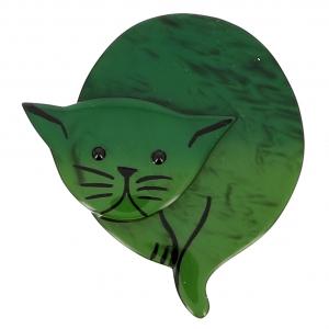 broche chat double lune vert 0001