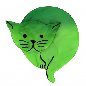 broche chat double lune vertclair