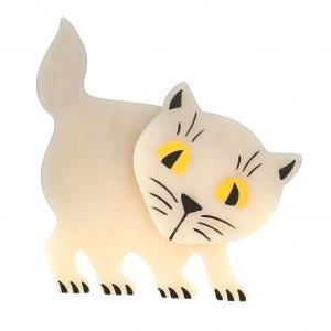 broche chat ebahi blanc