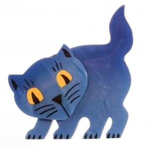 broche chat ebahi bleu