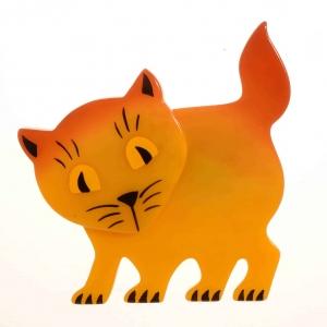 broche chat ebahi jaune