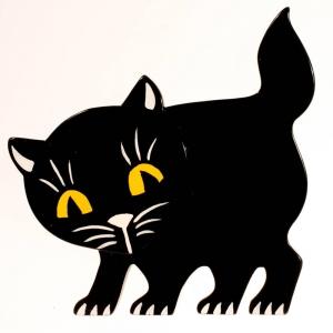 broche chat ebahi noir