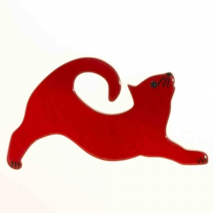 broche chat etire rouge