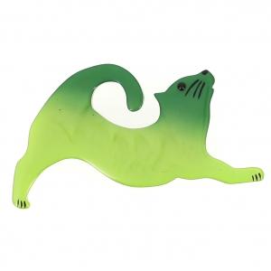 broche chat etire vert