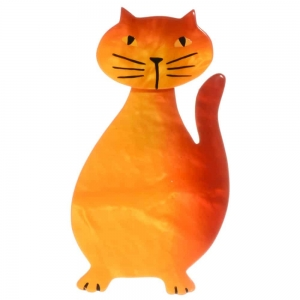 broche chat flacon jaune