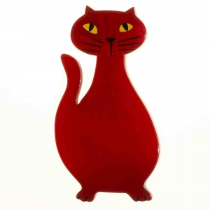 broche chat flacon rouge