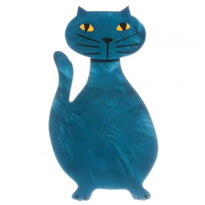 broche chat flacon turquoise