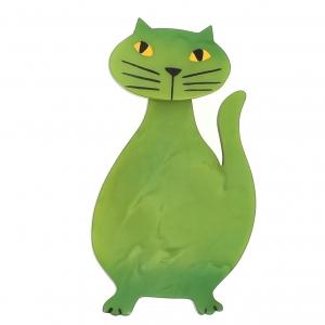 broche chat flacon vert