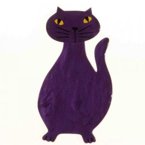 broche chat flacon violet