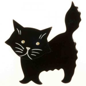 broche chat fripon noir