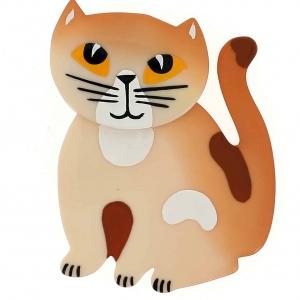 broche chat gandou beige