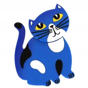 broche chat gandou bleu