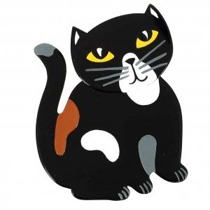 broche chat gandou noir