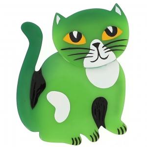 broche chat gandou vert vif