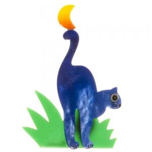 broche chat herbe bleu
