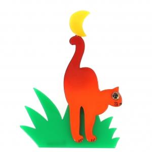 broche chat herbe orange