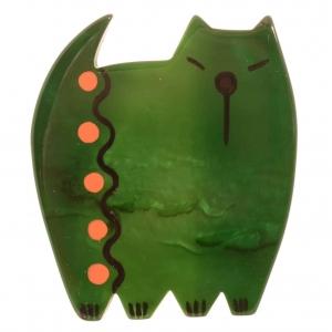 broche chat japonais vert