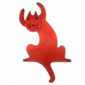 broche chat jazzy rouge