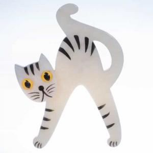 broche chat joyeux blanc