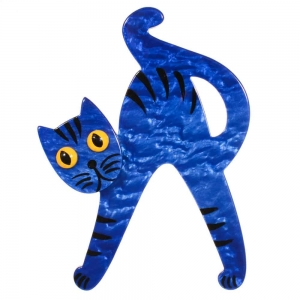 broche chat joyeux bleu