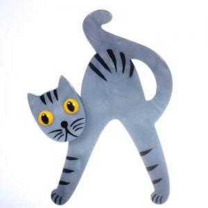 broche chat joyeux gris