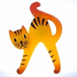 broche chat joyeux jaune