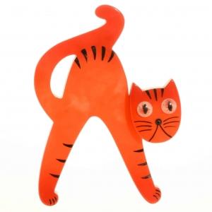 broche chat joyeux orange