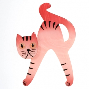 broche chat joyeux rose