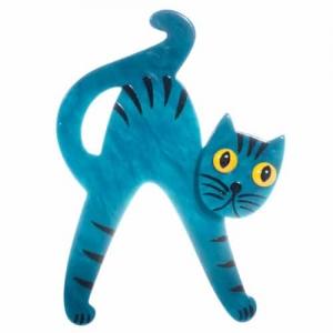 broche chat joyeux turquoise