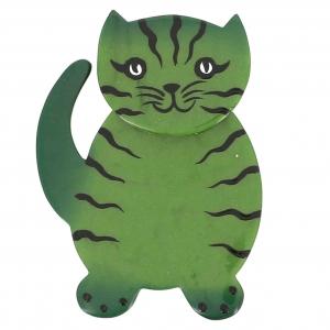 broche chat kiti vert mousse