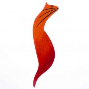 broche chat langoureux orange